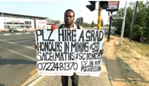 A graduate youth in South Africa looking for jobs on streets. Courtesy photo.