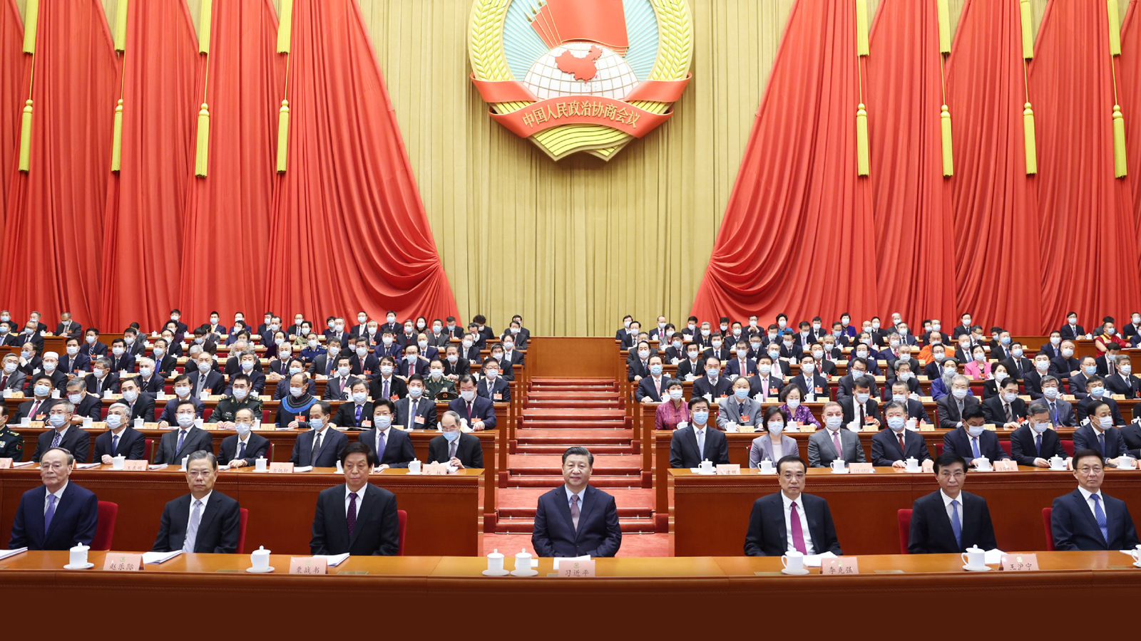 President Xi Jinping and other leaders attend the opening meeting of the fourth session of the 13th National Committee of the Chinese People's Political Consultative Conference in Beijing, March 4, 2021 Photo/Xinhua